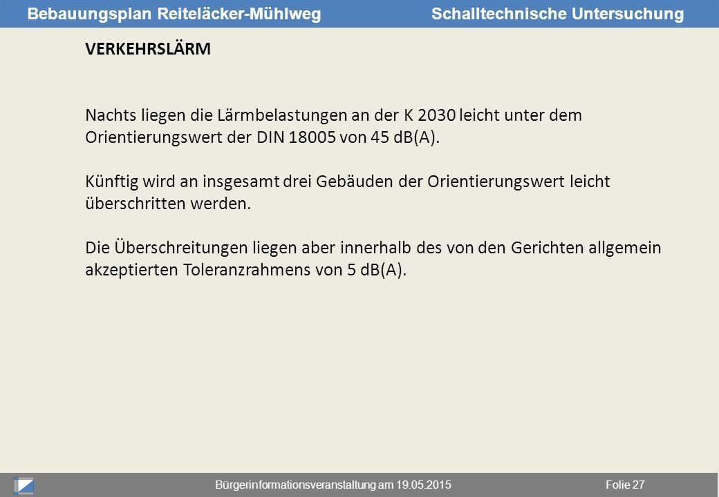 Bürgerinformationsveranstaltung am 19.05.2015Folie 27 Bebauungsplan Reiteläcker-MühlwegSchalltechnische Untersuchung VERKEHRSLÄRM Nachts liegen die Lä