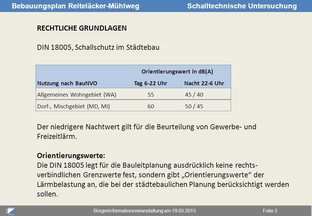 Bürgerinformationsveranstaltung am 19.05.2015Folie 3 Bebauungsplan Reiteläcker-MühlwegSchalltechnische Untersuchung RECHTLICHE GRUNDLAGEN DIN 18005, S