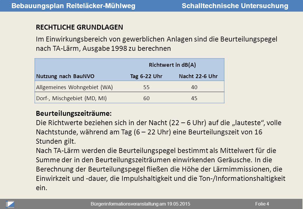 Bürgerinformationsveranstaltung am 19.05.2015Folie 4 Bebauungsplan Reiteläcker-MühlwegSchalltechnische Untersuchung RECHTLICHE GRUNDLAGEN Im Einwirkun