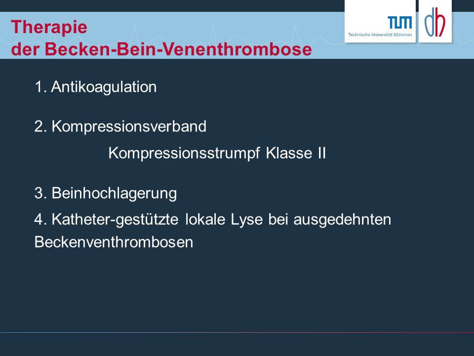 Therapie der Becken-Bein-Venenthrombose 1. Antikoagulation 2. Kompressionsverband Kompressionsstrumpf Klasse II 3. Beinhochlagerung 4. Katheter-gestüt