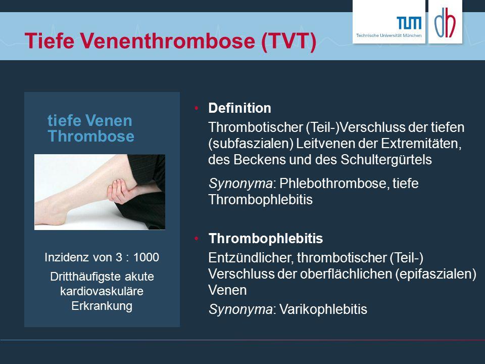 tiefe Venen Thrombose Inzidenz von 3 : 1000 Dritthäufigste akute kardiovaskuläre Erkrankung Tiefe Venenthrombose (TVT) Definition Thrombotischer (Teil