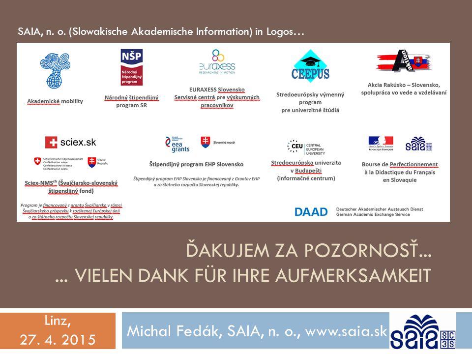 ĎAKUJEM ZA POZORNOSŤ...... VIELEN DANK FÜR IHRE AUFMERKSAMKEIT Michal Fedák, SAIA, n. o., www.saia.sk Linz, 27. 4. 2015 SAIA, n. o. (Slowakische Akade