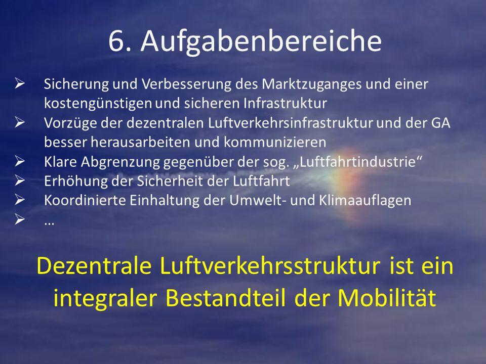 6. Aufgabenbereiche  Sicherung und Verbesserung des Marktzuganges und einer kostengünstigen und sicheren Infrastruktur  Vorzüge der dezentralen Luft