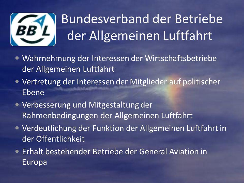 Bundesverband der Betriebe der Allgemeinen Luftfahrt Wahrnehmung der Interessen der Wirtschaftsbetriebe der Allgemeinen Luftfahrt Vertretung der Interessen der Mitglieder auf politischer Ebene Verbesserung und Mitgestaltung der Rahmenbedingungen der Allgemeinen Luftfahrt Verdeutlichung der Funktion der Allgemeinen Luftfahrt in der Öffentlichkeit Erhalt bestehender Betriebe der General Aviation in Europa