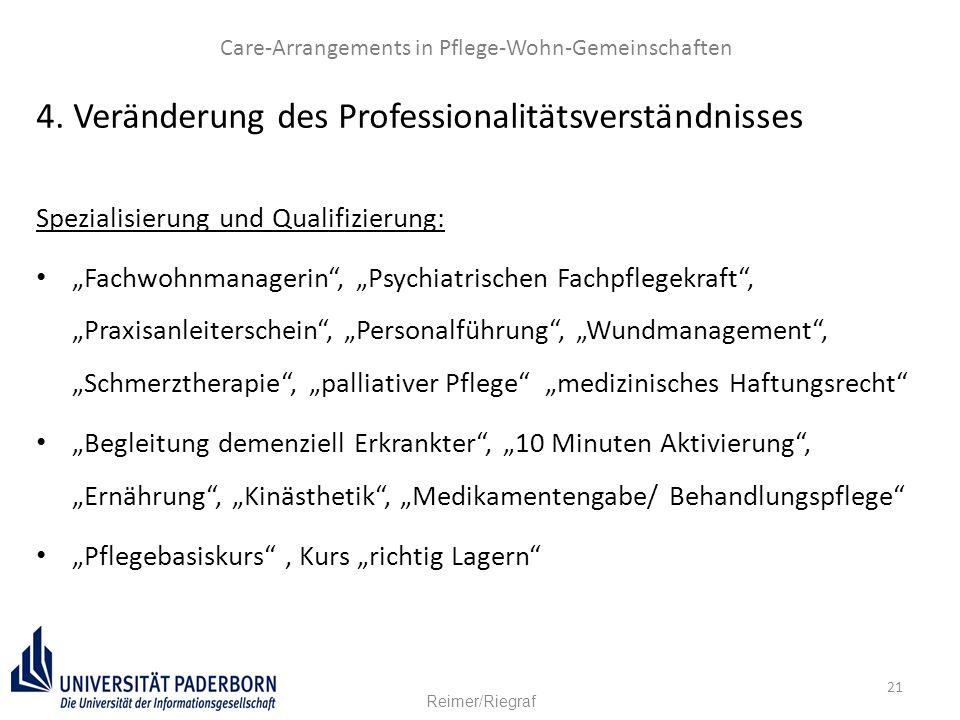 """21 4. Veränderung des Professionalitätsverständnisses Spezialisierung und Qualifizierung: """"Fachwohnmanagerin"""", """"Psychiatrischen Fachpflegekraft"""", """"Pra"""