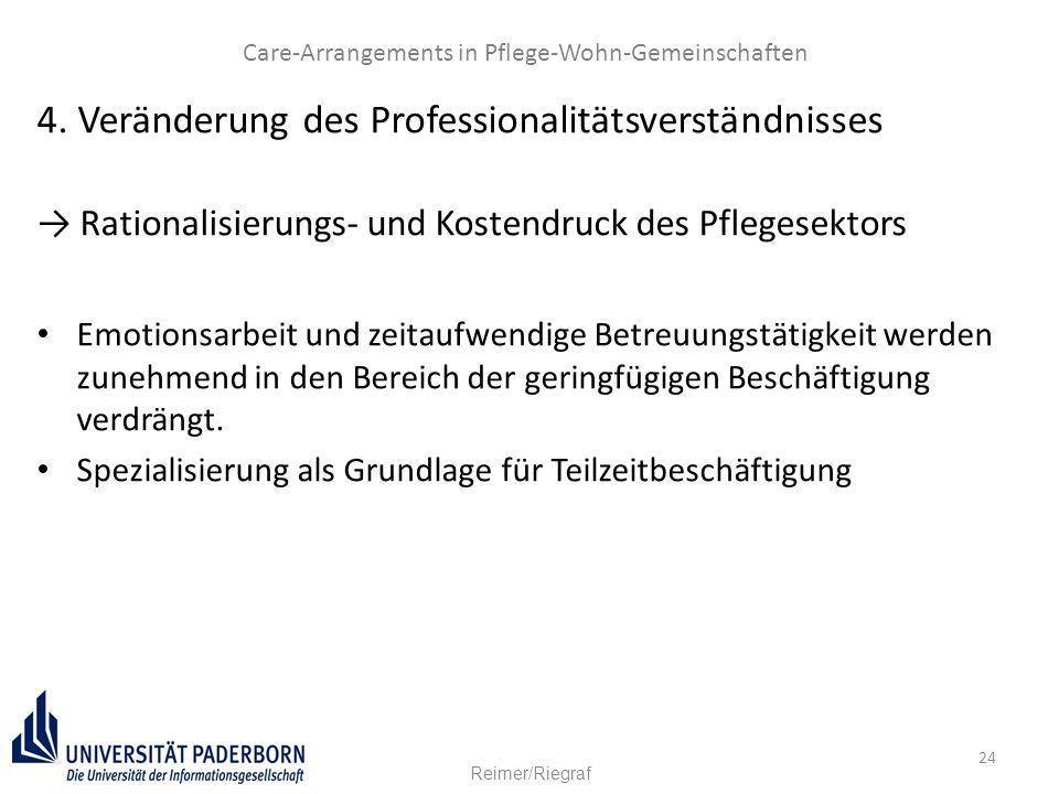 24 4. Veränderung des Professionalitätsverständnisses → Rationalisierungs- und Kostendruck des Pflegesektors Emotionsarbeit und zeitaufwendige Betreuu