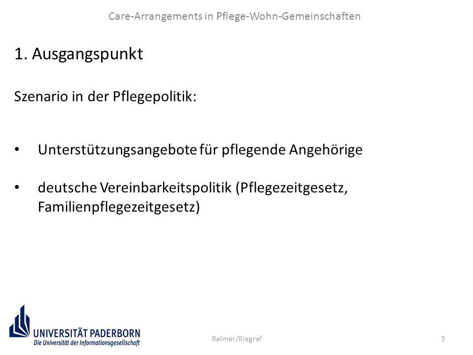 3 Care-Arrangements in Pflege-Wohn-Gemeinschaften Reimer/Riegraf 1.Ausgangspunkt Szenario in der Pflegepolitik: Unterstützungsangebote für pflegende A