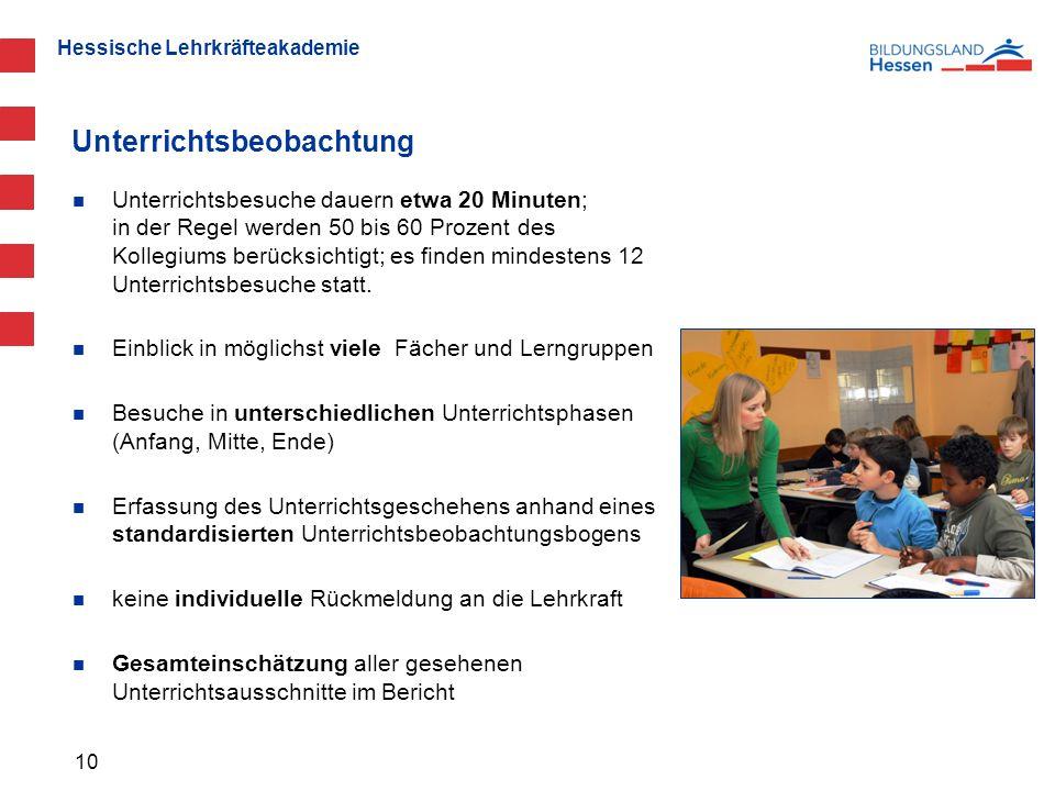 Hessische Lehrkräfteakademie Unterrichtsbeobachtung Unterrichtsbesuche dauern etwa 20 Minuten; in der Regel werden 50 bis 60 Prozent des Kollegiums berücksichtigt; es finden mindestens 12 Unterrichtsbesuche statt.