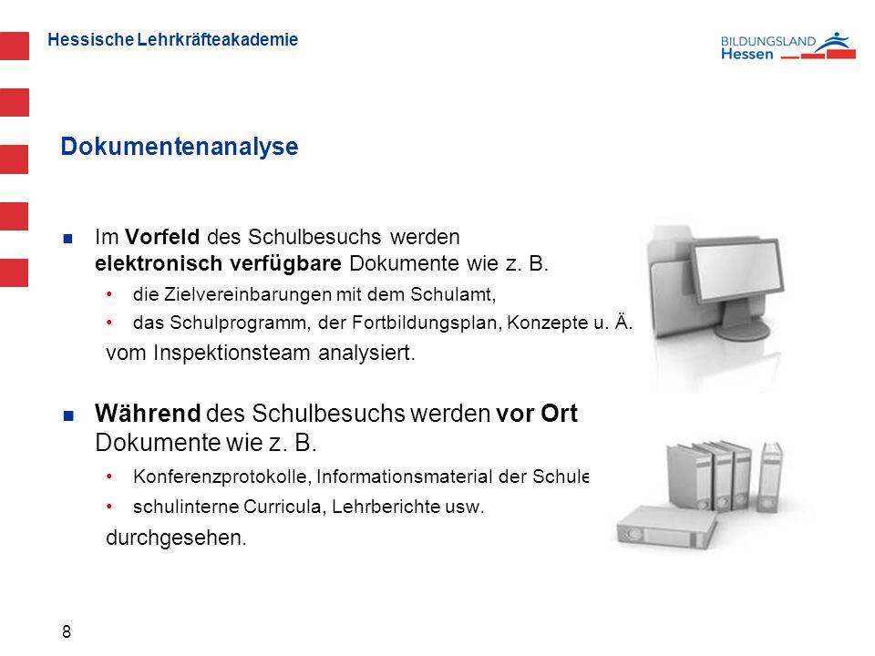 Hessische Lehrkräfteakademie Im Vorfeld des Schulbesuchs werden elektronisch verfügbare Dokumente wie z.