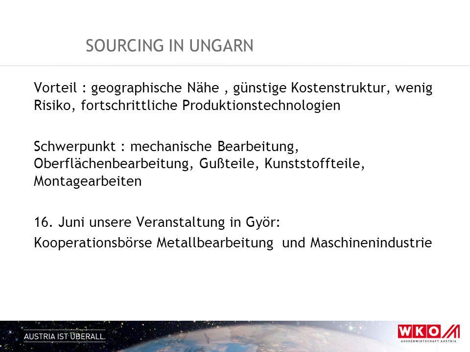 SOURCING IN UNGARN Vorteil : geographische Nähe, günstige Kostenstruktur, wenig Risiko, fortschrittliche Produktionstechnologien Schwerpunkt : mechani
