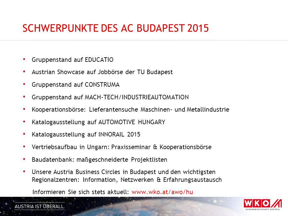 SCHWERPUNKTE DES AC BUDAPEST 2015 Gruppenstand auf EDUCATIO Austrian Showcase auf Jobbörse der TU Budapest Gruppenstand auf CONSTRUMA Gruppenstand auf