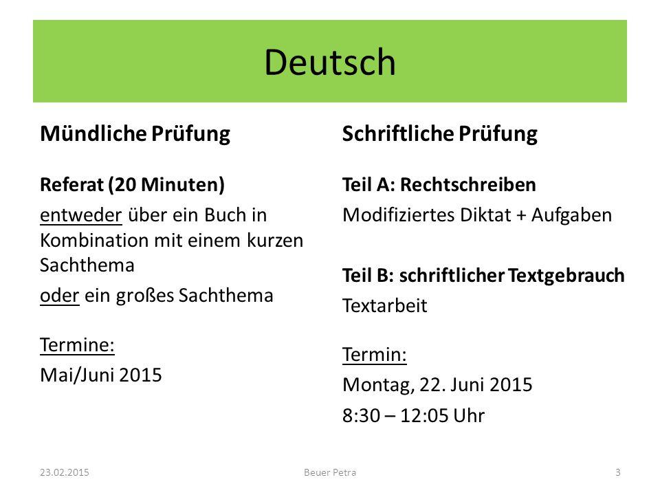 Deutsch Mündliche Prüfung Referat (20 Minuten) entweder über ein Buch in Kombination mit einem kurzen Sachthema oder ein großes Sachthema Termine: Mai