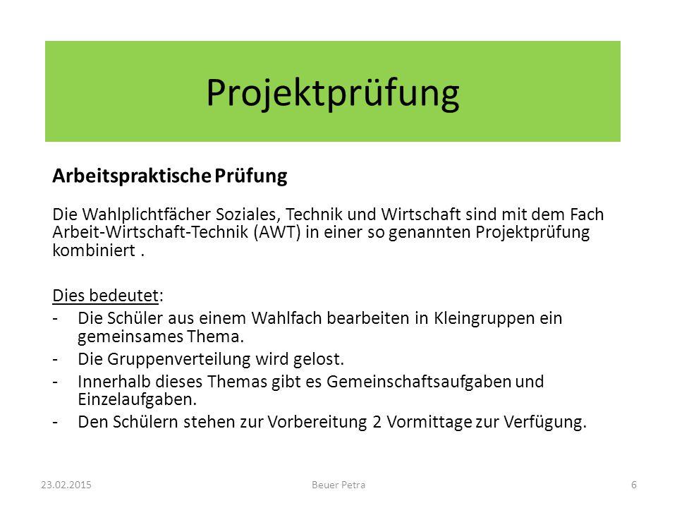 Projektprüfung Arbeitspraktische Prüfung Die Wahlplichtfächer Soziales, Technik und Wirtschaft sind mit dem Fach Arbeit-Wirtschaft-Technik (AWT) in einer so genannten Projektprüfung kombiniert.