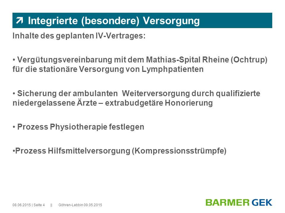|| 08.06.2015Göhren-Lebbin 09.05.2015| Seite 5  Integrierte (besondere) Versorgung Qualifikationen: Die Voraussetzungen für die Teilnahme von niedergelassenen Ärzte, Physiotherapeuten und Sanitätshäuser bestimmt das Lymphnetz Nordwest.