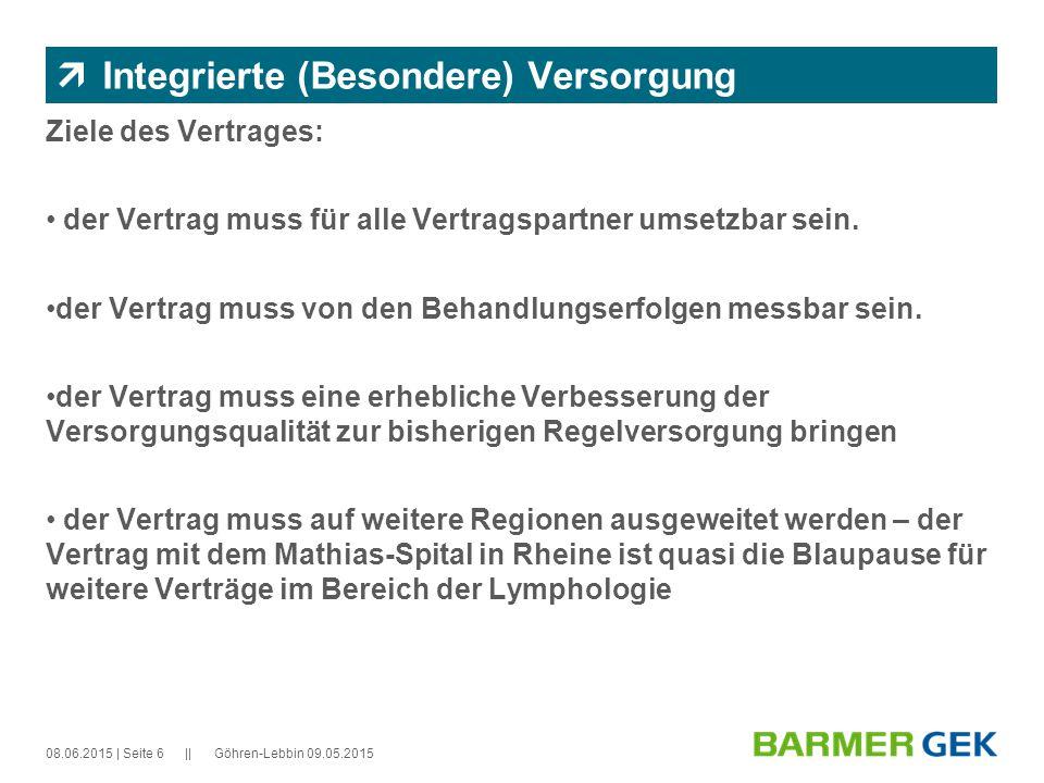 || 08.06.2015Göhren-Lebbin 09.05.2015| Seite 6  Integrierte (Besondere) Versorgung Ziele des Vertrages: der Vertrag muss für alle Vertragspartner umsetzbar sein.