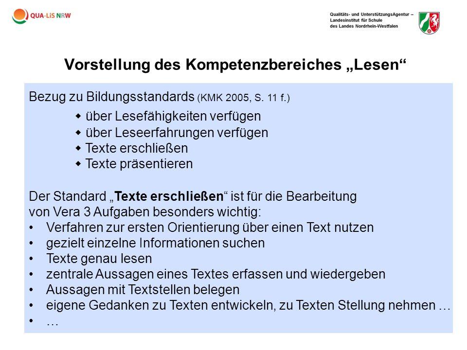 """Vorstellung des Kompetenzbereiches """"Lesen"""" Bezug zu Bildungsstandards (KMK 2005, S. 11 f.)  über Lesefähigkeiten verfügen  über Leseerfahrungen verf"""