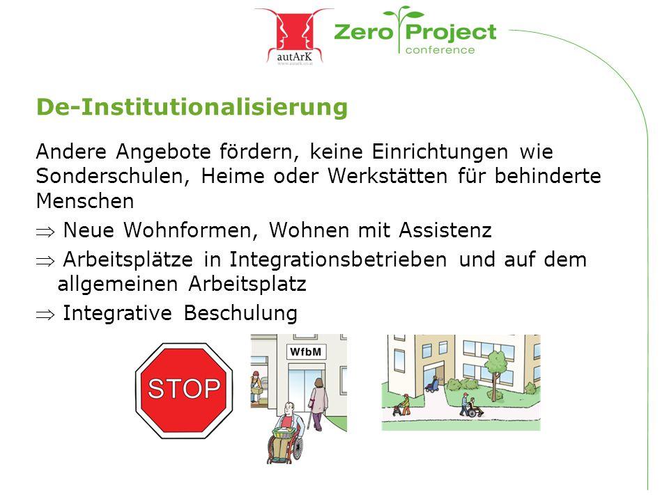 De-Institutionalisierung Andere Angebote fördern, keine Einrichtungen wie Sonderschulen, Heime oder Werkstätten für behinderte Menschen  Neue Wohnfor