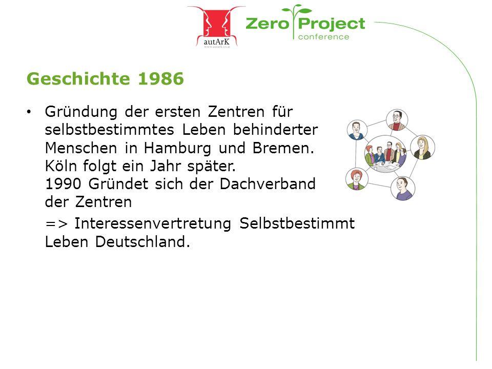 Geschichte 1986 Gründung der ersten Zentren für selbstbestimmtes Leben behinderter Menschen in Hamburg und Bremen. Köln folgt ein Jahr später. 1990 Gr
