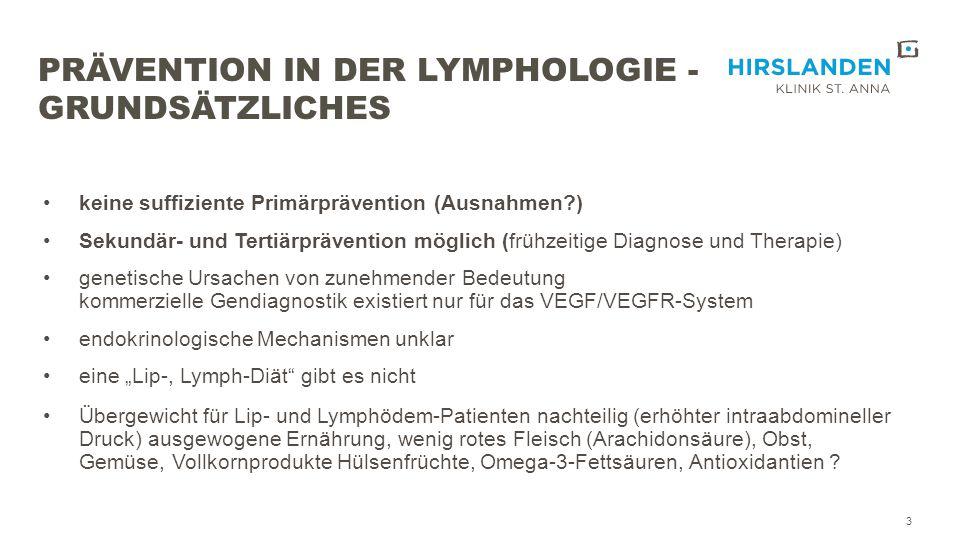 PRÄVENTION DES SEKUNDÄREN ARMLYMPHÖDEMS 14  Risikofaktoren:Tumorstadium Anzahl der resezierten Lymphknoten adjuvante Strahlentherapie adjuvante Chemotherapie Injektion am ipsilateralen Arm Dauer der axillären Lymphdrainage Wundinfektion, Serom BMI ≥ 30 starke postoperative Gewichtsänderung Saunabesuche SNP´s (VEGFR-2+3, RORC, Connexin47) (Finegold DN et al.