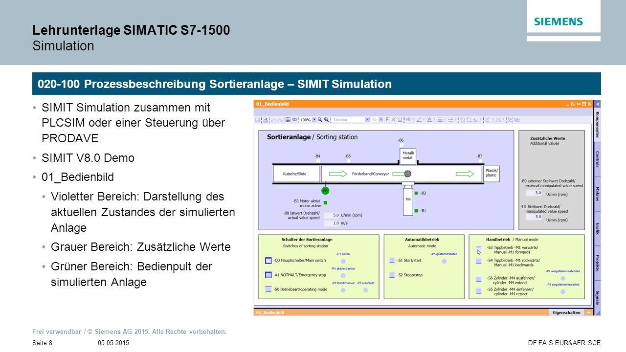 Frei verwendbar / © Siemens AG 2015. Alle Rechte vorbehalten. 05.05.2015Seite 8DF FA S EUR&AFR SCE Lehrunterlage SIMATIC S7-1500 Simulation 020-100 Pr