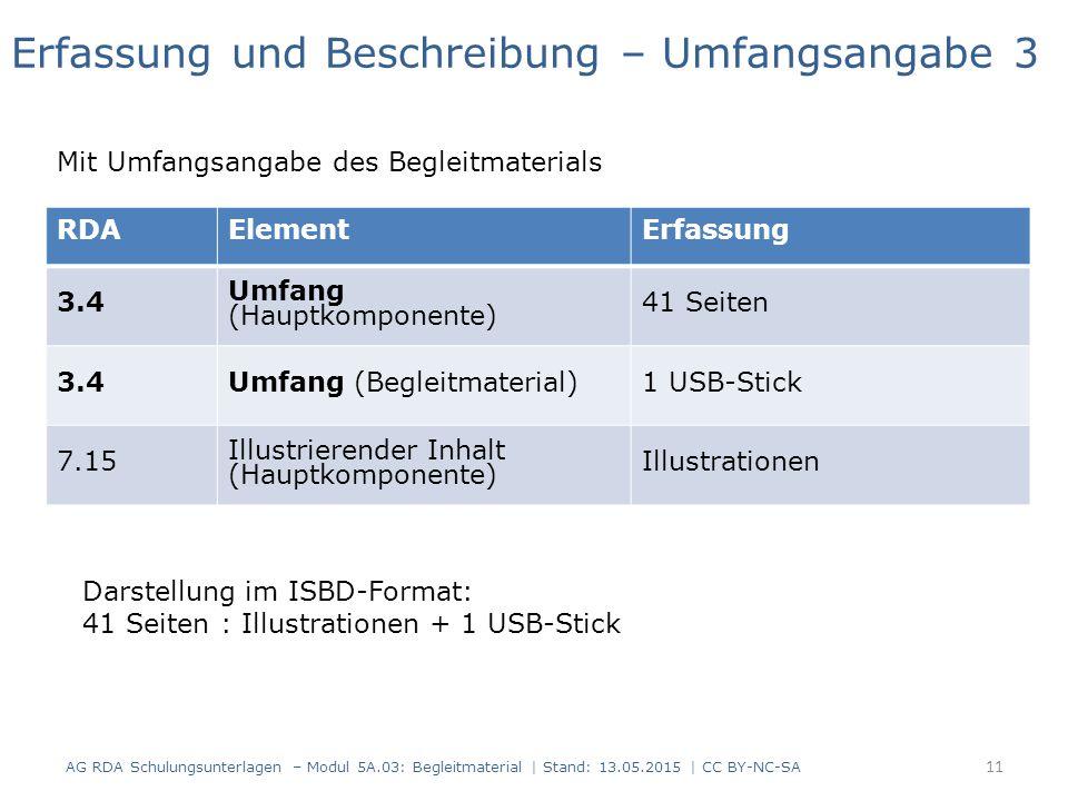 AG RDA Schulungsunterlagen – Modul 5A.03: Begleitmaterial | Stand: 13.05.2015 | CC BY-NC-SA RDAElementErfassung 3.4 Umfang (Hauptkomponente) 41 Seiten