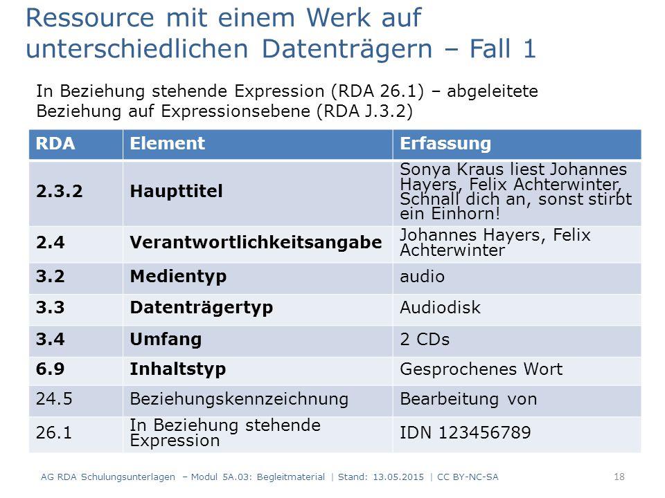 AG RDA Schulungsunterlagen – Modul 5A.03: Begleitmaterial | Stand: 13.05.2015 | CC BY-NC-SA RDAElementErfassung 2.3.2Haupttitel Sonya Kraus liest Joha