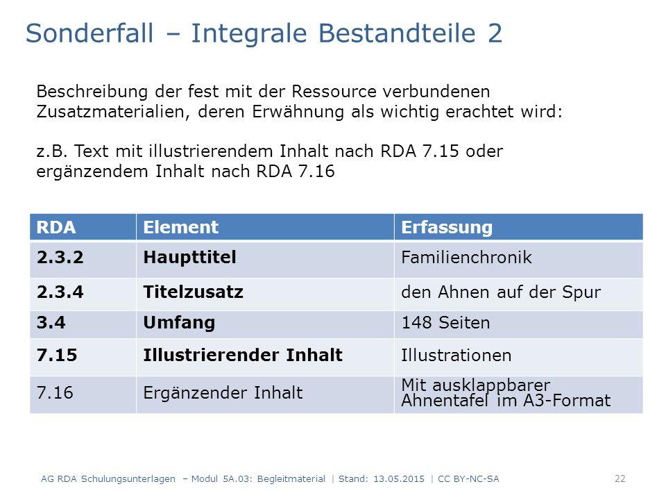 AG RDA Schulungsunterlagen – Modul 5A.03: Begleitmaterial | Stand: 13.05.2015 | CC BY-NC-SA RDAElementErfassung 2.3.2HaupttitelFamilienchronik 2.3.4Titelzusatzden Ahnen auf der Spur 3.4Umfang148 Seiten 7.15Illustrierender InhaltIllustrationen 7.16Ergänzender Inhalt Mit ausklappbarer Ahnentafel im A3-Format Sonderfall – Integrale Bestandteile 2 Beschreibung der fest mit der Ressource verbundenen Zusatzmaterialien, deren Erwähnung als wichtig erachtet wird: z.B.