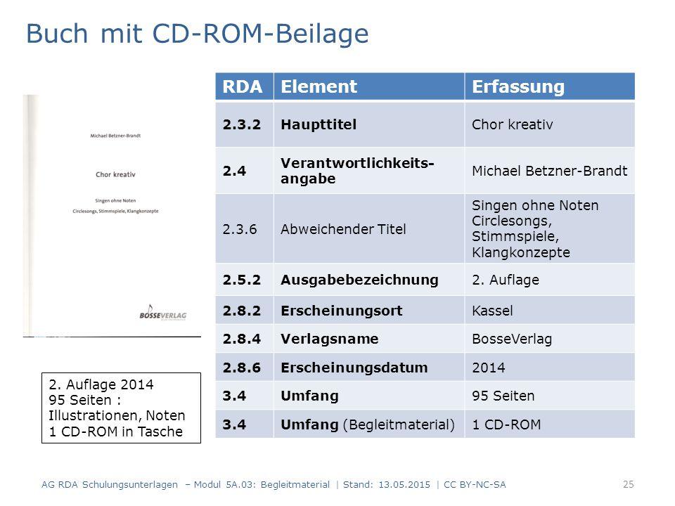 RDAElementErfassung 2.3.2HaupttitelChor kreativ 2.4 Verantwortlichkeits- angabe Michael Betzner-Brandt 2.3.6Abweichender Titel Singen ohne Noten Circlesongs, Stimmspiele, Klangkonzepte 2.5.2Ausgabebezeichnung2.