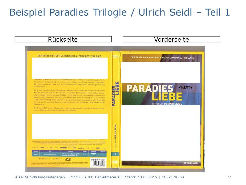 AG RDA Schulungsunterlagen – Modul 5A.03: Begleitmaterial | Stand: 13.05.2015 | CC BY-NC-SA RückseiteVorderseite Beispiel Paradies Trilogie / Ulrich Seidl – Teil 1 27