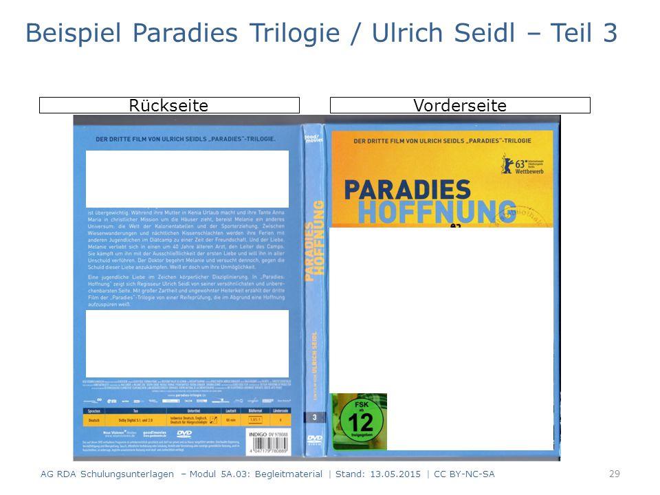 AG RDA Schulungsunterlagen – Modul 5A.03: Begleitmaterial | Stand: 13.05.2015 | CC BY-NC-SA RückseiteVorderseite Beispiel Paradies Trilogie / Ulrich S