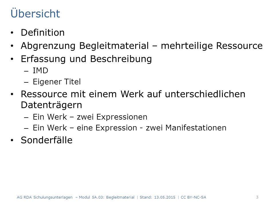 Übersicht Definition Abgrenzung Begleitmaterial – mehrteilige Ressource Erfassung und Beschreibung – IMD – Eigener Titel Ressource mit einem Werk auf
