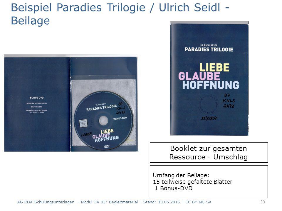 AG RDA Schulungsunterlagen – Modul 5A.03: Begleitmaterial | Stand: 13.05.2015 | CC BY-NC-SA Beispiel Paradies Trilogie / Ulrich Seidl - Beilage Bookle