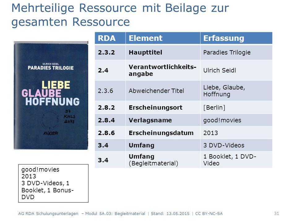RDAElementErfassung 2.3.2HaupttitelParadies Trilogie 2.4 Verantwortlichkeits- angabe Ulrich Seidl 2.3.6Abweichender Titel Liebe, Glaube, Hoffnung 2.8.