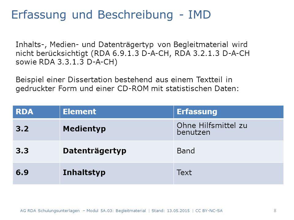 RDAElementErfassung 3.2Medientyp Ohne Hilfsmittel zu benutzen 3.3DatenträgertypBand 6.9InhaltstypText Erfassung und Beschreibung - IMD Inhalts-, Medie