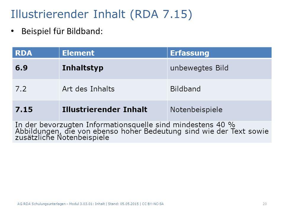 Illustrierender Inhalt (RDA 7.15) AG RDA Schulungsunterlagen – Modul 3.03.01: Inhalt | Stand: 05.05.2015 | CC BY-NC-SA 20 RDAElementErfassung 6.9Inhaltstypunbewegtes Bild 7.2Art des InhaltsBildband 7.15Illustrierender InhaltNotenbeispiele In der bevorzugten Informationsquelle sind mindestens 40 % Abbildungen, die von ebenso hoher Bedeutung sind wie der Text sowie zusätzliche Notenbeispiele Beispiel für Bildband: