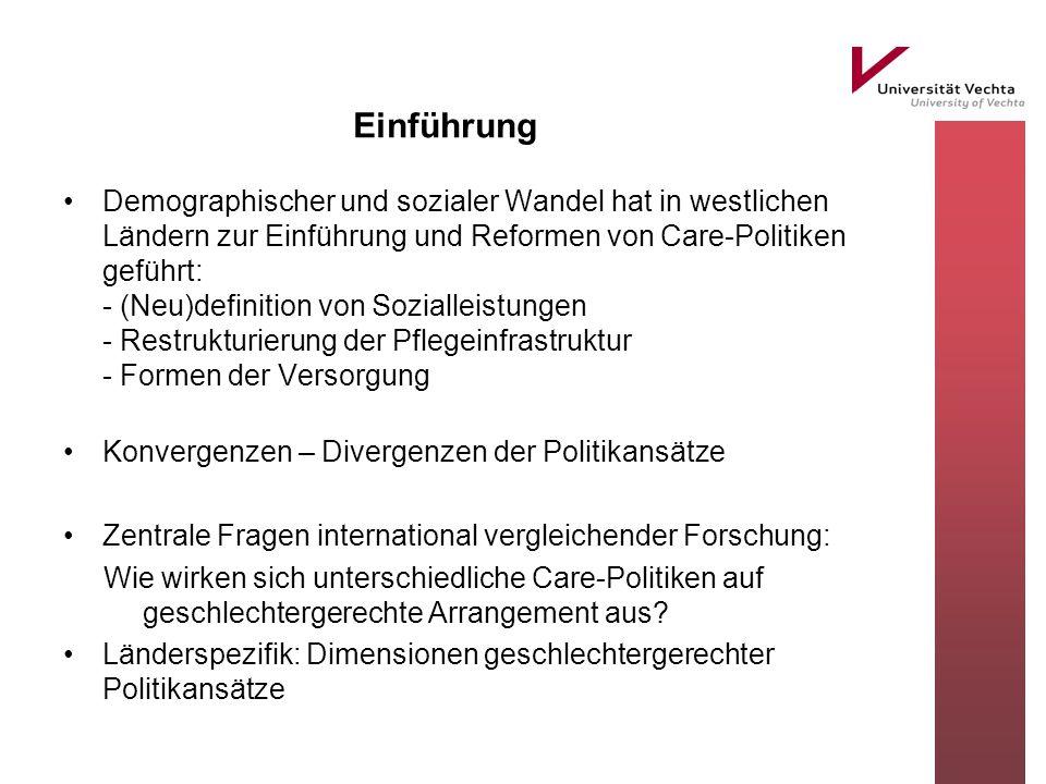 Einführung Demographischer und sozialer Wandel hat in westlichen Ländern zur Einführung und Reformen von Care-Politiken geführt: - (Neu)definition von