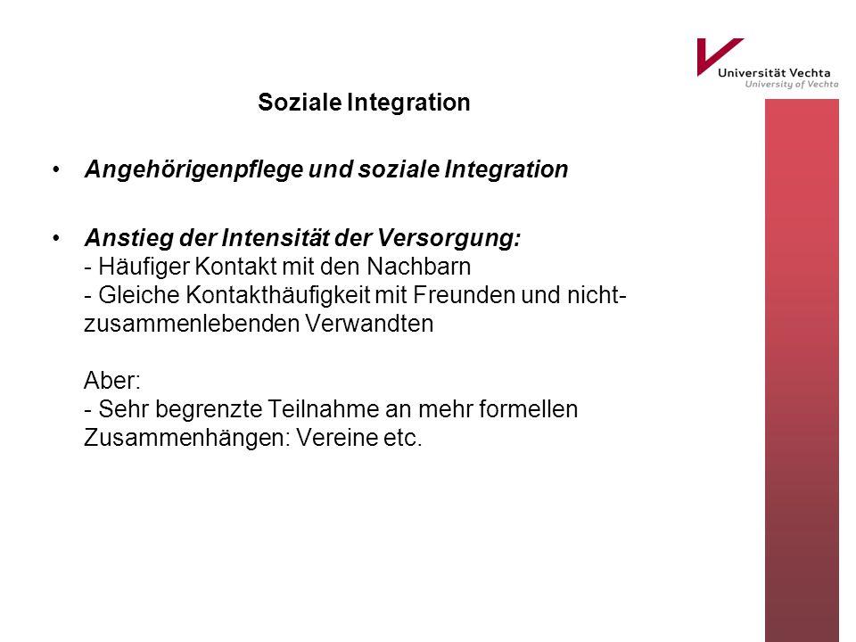 Soziale Integration Angehörigenpflege und soziale Integration Anstieg der Intensität der Versorgung: - Häufiger Kontakt mit den Nachbarn - Gleiche Kon