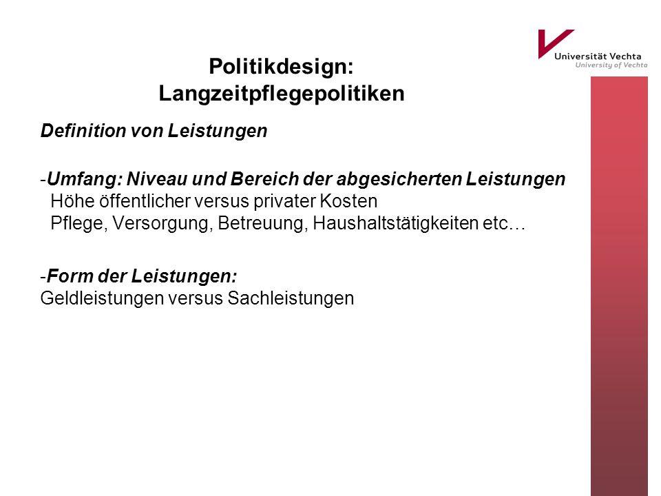 Politikdesign: Langzeitpflegepolitiken Definition von Leistungen -Umfang: Niveau und Bereich der abgesicherten Leistungen Höhe öffentlicher versus pri