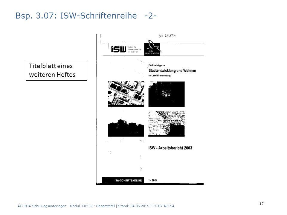 Bsp. 3.07: ISW-Schriftenreihe -2- Titelblatt eines weiteren Heftes AG RDA Schulungsunterlagen – Modul 3.02.06: Gesamttitel | Stand: 04.05.2015 | CC BY