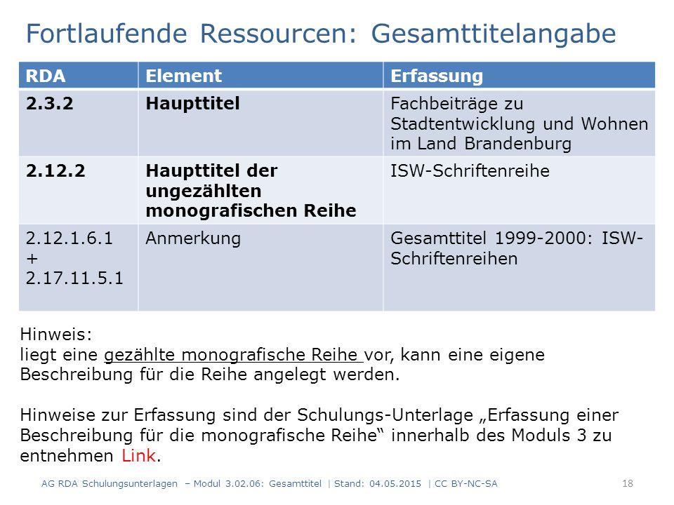 Fortlaufende Ressourcen: Gesamttitelangabe AG RDA Schulungsunterlagen – Modul 3.02.06: Gesamttitel | Stand: 04.05.2015 | CC BY-NC-SA 18 RDAElementErfa