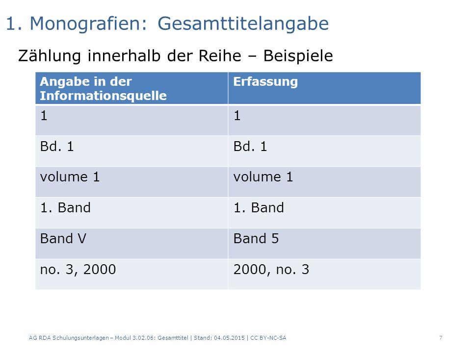 1. Monografien: Gesamttitelangabe Zählung innerhalb der Reihe – Beispiele AG RDA Schulungsunterlagen – Modul 3.02.06: Gesamttitel | Stand: 04.05.2015