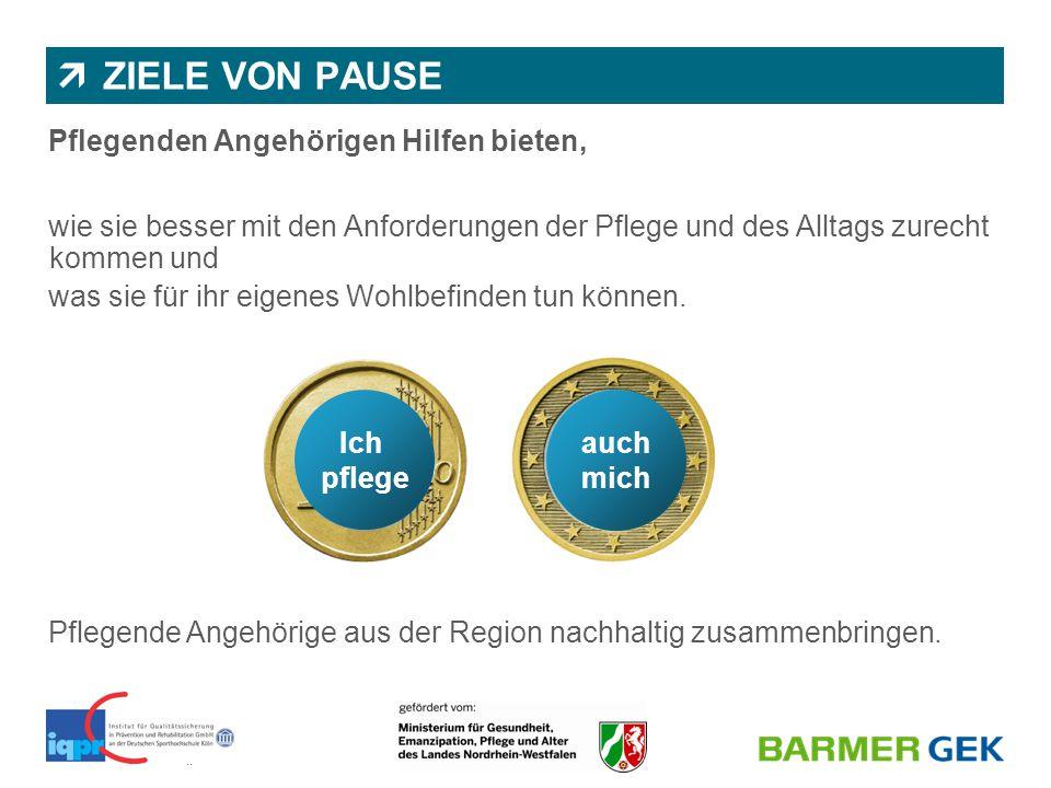 || BARMER GEK | Abteilung 1150 | Dr. Nicole Wassiljew & Juliane Diekmann  ZIELE VON PAUSE Pflegenden Angehörigen Hilfen bieten, wie sie besser mit de