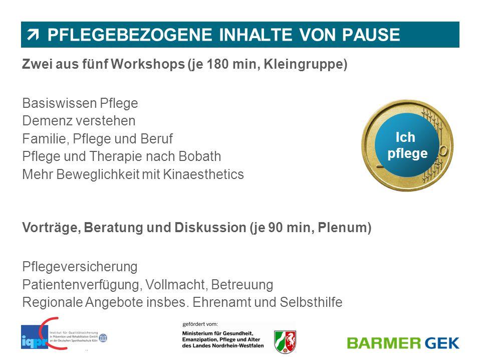 || BARMER GEK | Abteilung 1150 | Dr. Nicole Wassiljew & Juliane Diekmann  PFLEGEBEZOGENE INHALTE VON PAUSE Zwei aus fünf Workshops (je 180 min, Klein