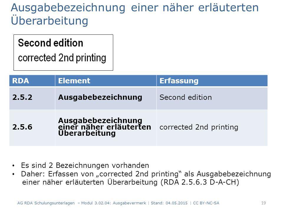 Ausgabebezeichnung einer näher erläuterten Überarbeitung AG RDA Schulungsunterlagen – Modul 3.02.04: Ausgabevermerk | Stand: 04.05.2015 | CC BY-NC-SA