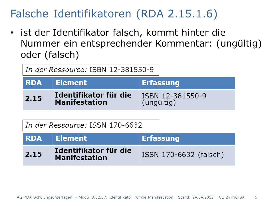 Falsche Identifikatoren (RDA 2.15.1.6) ist der Identifikator falsch, kommt hinter die Nummer ein entsprechender Kommentar: (ungültig) oder (falsch) AG RDA Schulungsunterlagen – Modul 3.02.07: Identifikator für die Manifestation | Stand: 24.04.2015 | CC BY-NC-SA 9 RDAElementErfassung 2.15 Identifikator für die Manifestation ISBN 12-381550-9 (ungültig) In der Ressource: ISBN 12-381550-9 RDAElementErfassung 2.15 Identifikator für die Manifestation ISSN 170-6632 (falsch) In der Ressource: ISSN 170-6632