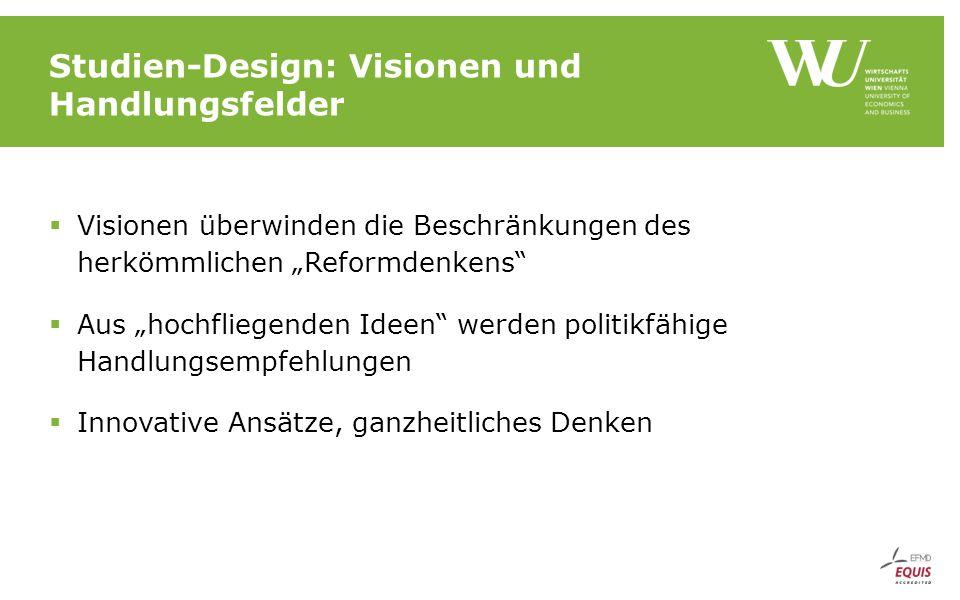 """Studien-Design: Visionen und Handlungsfelder  Visionen überwinden die Beschränkungen des herkömmlichen """"Reformdenkens  Aus """"hochfliegenden Ideen werden politikfähige Handlungsempfehlungen  Innovative Ansätze, ganzheitliches Denken"""
