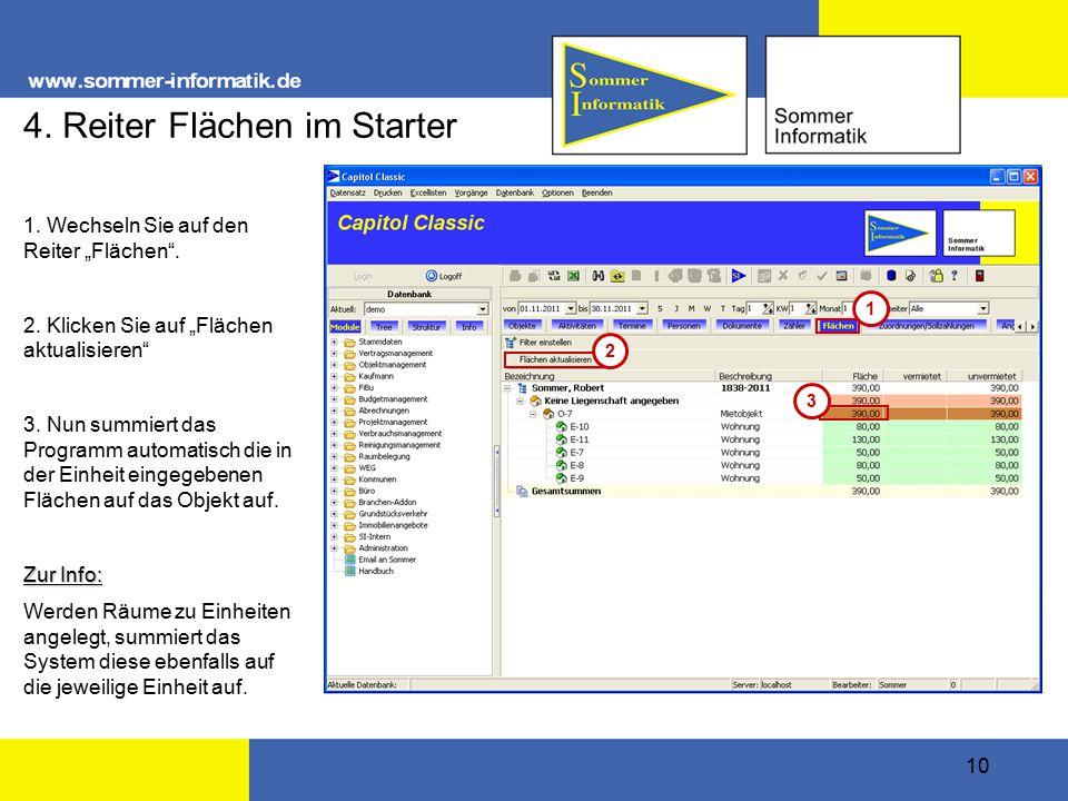 """10 4. Reiter Flächen im Starter 1. Wechseln Sie auf den Reiter """"Flächen ."""