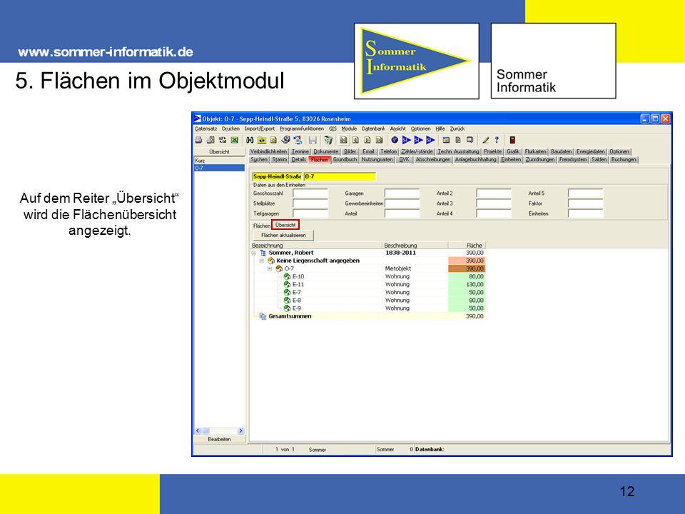 """12 5. Flächen im Objektmodul Auf dem Reiter """"Übersicht"""" wird die Flächenübersicht angezeigt."""