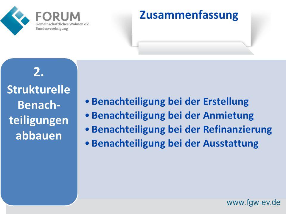www.fgw-ev.de Zusammenfassung Benachteiligung bei der Erstellung Benachteiligung bei der Anmietung Benachteiligung bei der Refinanzierung Benachteiligung bei der Ausstattung 2.