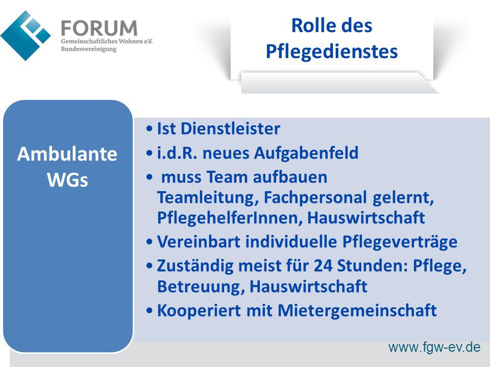 www.fgw-ev.de Rolle des Pflegedienstes Ist Dienstleister i.d.R.